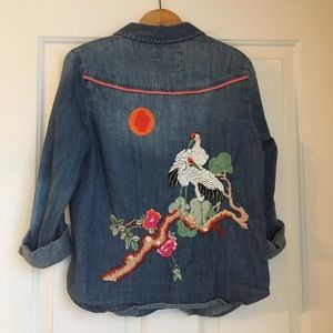 Anthropologie embroidered chambray shirt